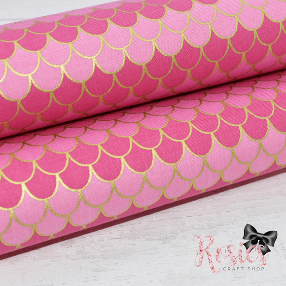 Pink with Gold Mermaid Scales Designer Fabric Felt
