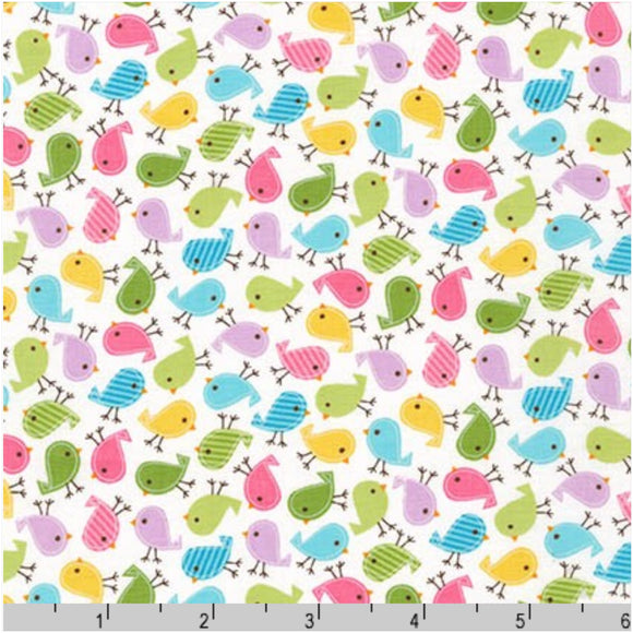Mini Spring Birds Designer Fabric Felt - Urban Zoologie - Rosie's Craft Shop Ltd