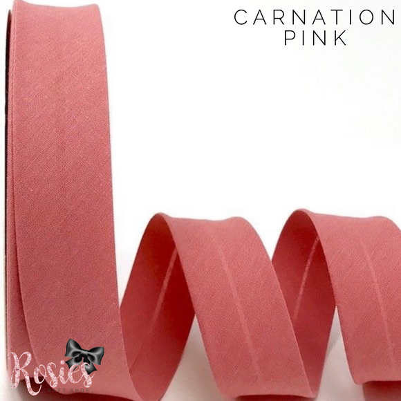 30mm Carnation Pink Plain Polycotton Bias Binding - Rosie's Craft Shop Ltd