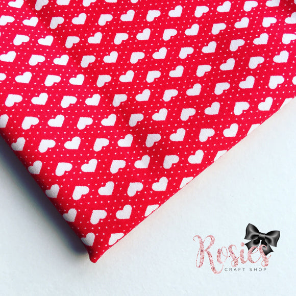 Mini White Polka Dot Hearts on Red 100% Cotton Fabric - Rosie's Craft Shop Ltd