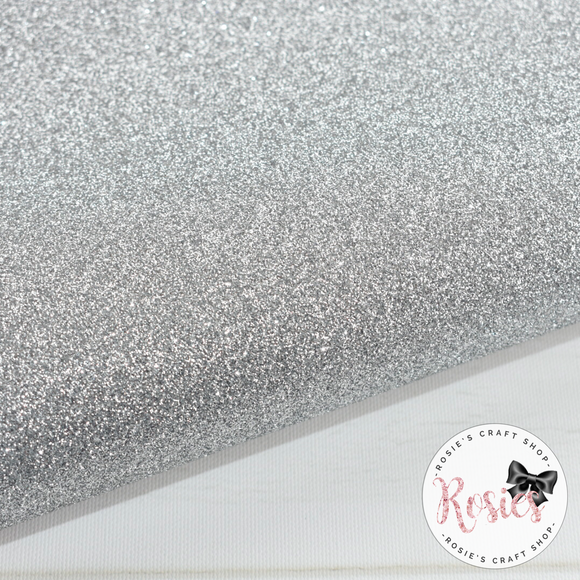 Silver Premium Fine Glitter Topped Wool Felt - Rosie's Craft Shop Ltd