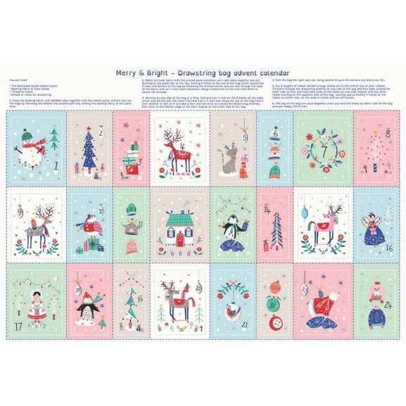Merry And Bright Advent Calendar - 100% Cotton Fabric