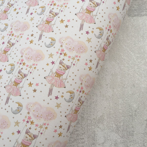 Sleepy Kitty on White Premium Printed Fabric - Cotton Weave - Rosie's Craft Shop Ltd