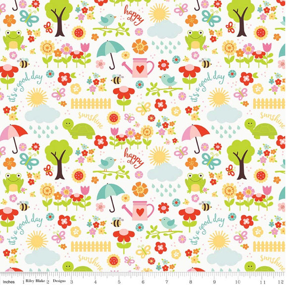 April Showers White - Bloom Where You Are Planted by Riley Blake - 100% Cotton Fabric - Rosie's Craft Shop Ltd