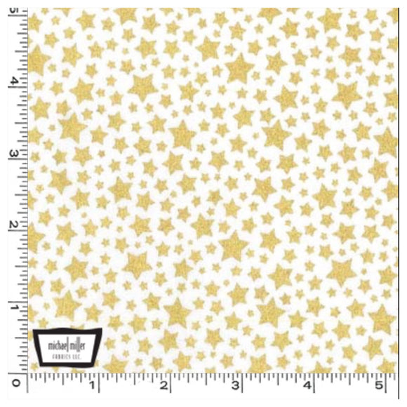 White Gold Metallic Stars - Starbright by Michael Miller 100% Cotton Fabric or Fabric Felt - Rosie's Craft Shop Ltd