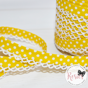 12mm Yellow with White Polka Dots Pre-Folded Bias Binding with Scallop Lace Edge - Rosie's Craft Shop Ltd