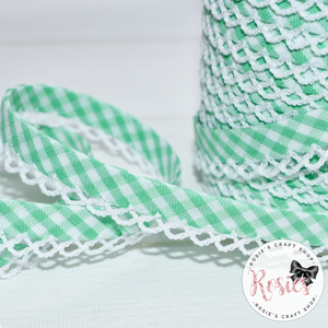12mm Green Gingham Pre-Folded Bias Binding with Scallop Lace Edge - Rosie's Craft Shop Ltd