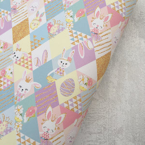 Easter Bunny Diamonds Premium Printed Fabric - Cotton Weave - Rosie's Craft Shop Ltd