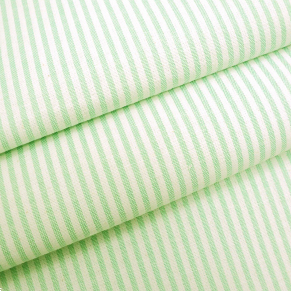 3mm Lime Green Chambray Candy Stripe Cotton Fabric - Rosie's Craft Shop Ltd