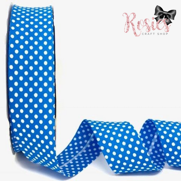 30mm Mid Blue with White Polka Dot Polycotton Bias Binding