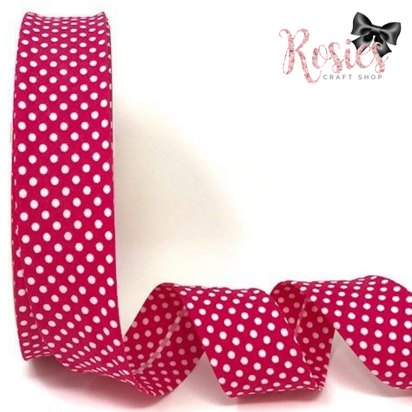 30mm Mid Pink with White Polka Dot Polycotton Bias Binding