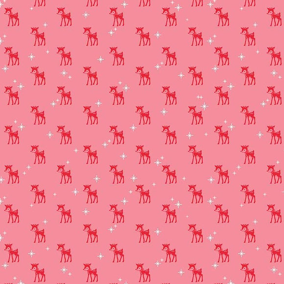 Mini Reindeer Pink - Cozy Christmas by Riley Blake - 100% Cotton Fabric - Rosie's Craft Shop Ltd