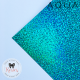 Aqua Holographic Sparkle Iron On Vinyl HTV - Rosie's Craft Shop Ltd