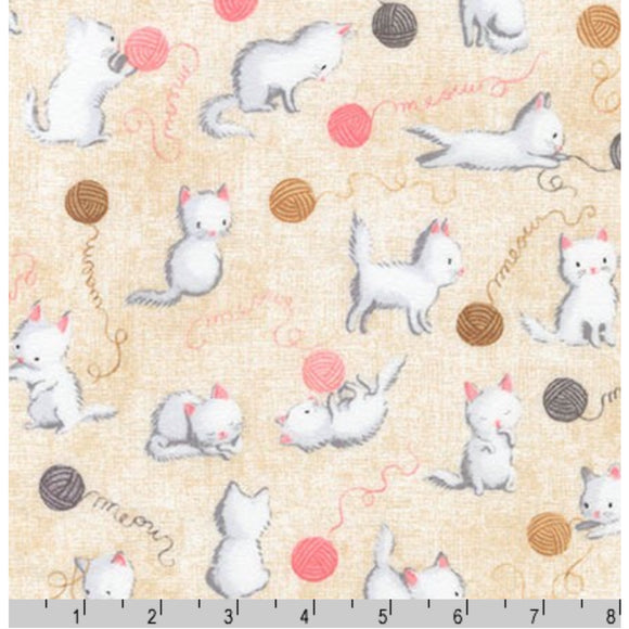 Kittens and Wool Balls Tan - Cuddly Kittens By Robert Kaufman - 100% Cotton Flannel Fabric - Rosie's Craft Shop Ltd