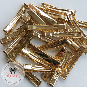 35mm Gold Alligator Hair Clips With Teeth - Rosie's Craft Shop Ltd