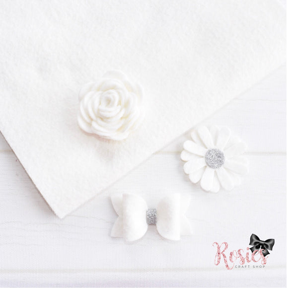 White Wool Blend Felt - Rosie's Craft Shop Ltd