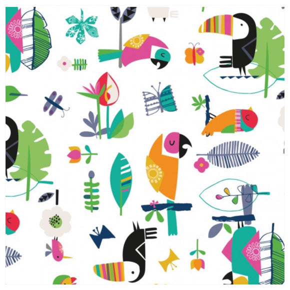 White Birds - Club Tropicana by Dashwood Studios 100% Cotton Fabric - Rosie's Craft Shop Ltd