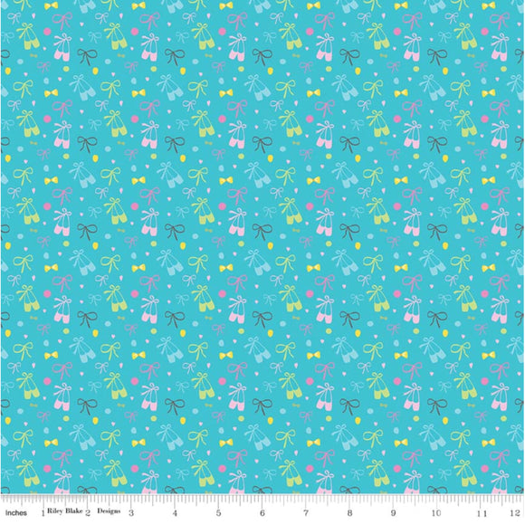 Aqua Bows and Shoes - Ballerina Bows by Riley Blake - 100% Cotton Fabric - Rosie's Craft Shop Ltd