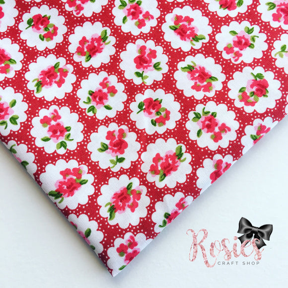 Red Circle Floral Fabric 100% Cotton Fabric - Rosie's Craft Shop Ltd
