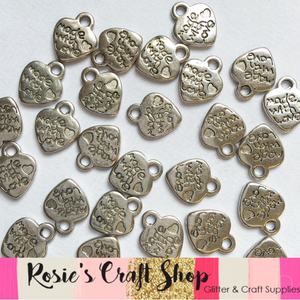 20 x 13mm Made With Love Tibetan Silver Charms - Rosie's Craft Shop Ltd
