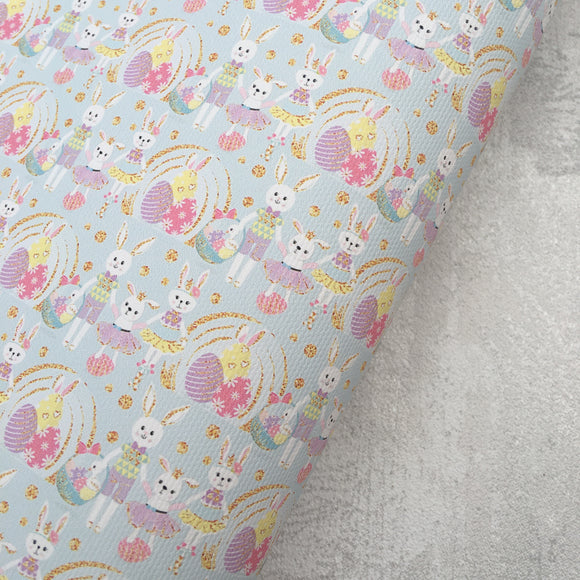 Easter Bunnies & Eggs on Blue Premium Printed Fabric - Cotton Weave - Rosie's Craft Shop Ltd