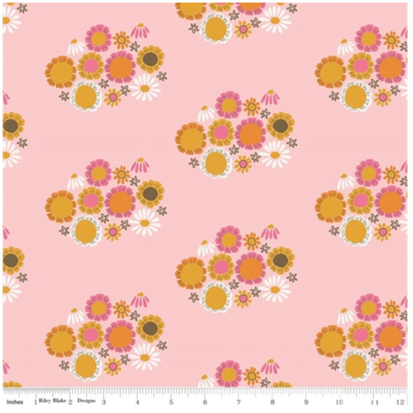 Pink Guinevere Flowers - Guinevere by Riley Blake - 100% Cotton Fabric - Rosie's Craft Shop Ltd