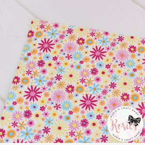 Pink and Yellow Daisy Floral 100% Cotton Fabric - Rosie's Craft Shop Ltd