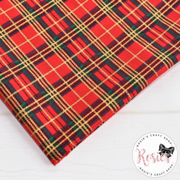 Red Tartan with Gold Metallic Cotton Fabric - Rosie's Craft Shop Ltd