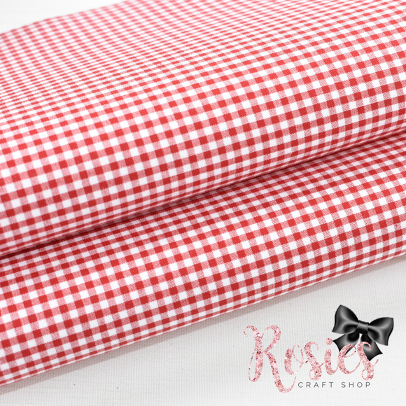 Red Gingham Mini Check Fabric Felt