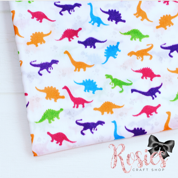 Multi Coloured Dinosaurs Polycotton Fabric