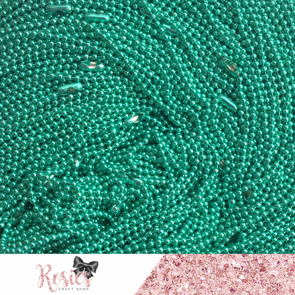 Aqua Green Coloured Ball Chain Necklace for Pendants - Rosie's Craft Shop Ltd