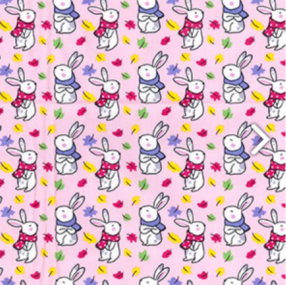 Little Bunnies in Scarves on Pink 100% Cotton Fabric - Rosie's Craft Shop Ltd