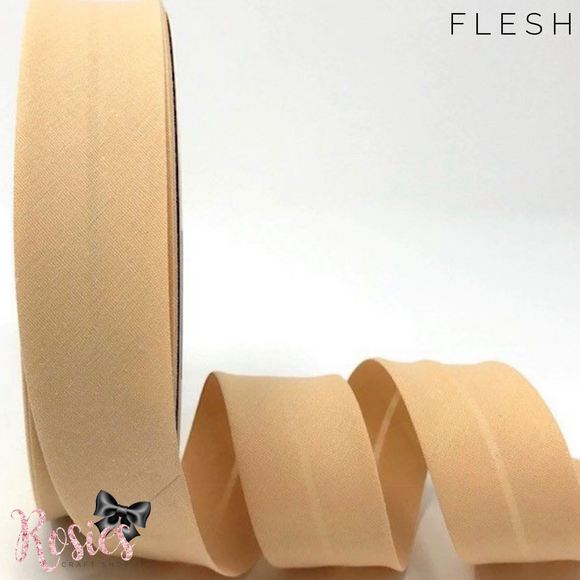 30mm Flesh Plain Polycotton Bias Binding - Rosie's Craft Shop Ltd