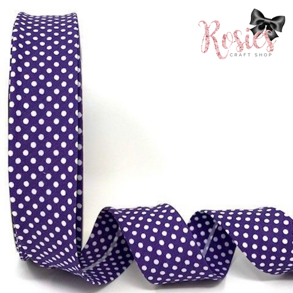 30mm Purple with White Polka Dot Polycotton Bias Binding