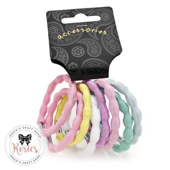 Pack of 8 Pastel Coloured Ribbed Hair Bobbles - Rosie's Craft Shop Ltd
