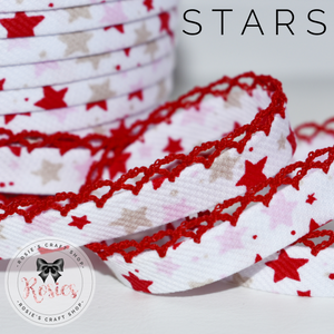 12mm Pink & Red Stars Pre-Folded Bias Binding with Scallop Lace Edge - Rosie's Craft Shop Ltd