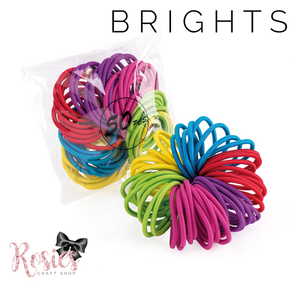 Pack of 50 Brights Endless Elastic Snag Free Hair Bobbles - Rosie's Craft Shop Ltd