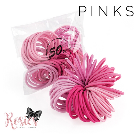 Pack of 50 Pinks Endless Elastic Snag Free Hair Bobbles - Rosie's Craft Shop Ltd