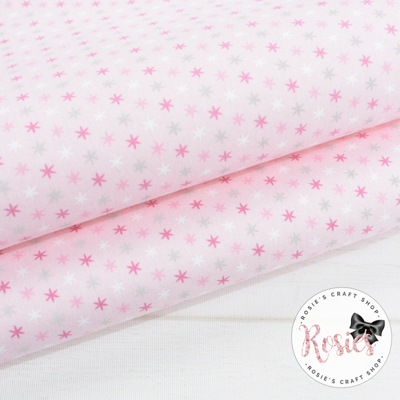 Pink and Silver Stars on Pink Fabric Felt - Rosie's Craft Shop Ltd