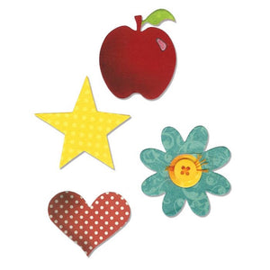 Sizzix Shapes Apple, Flower Heart & Star Die Bigz A10598 - Rosie's Craft Shop Ltd