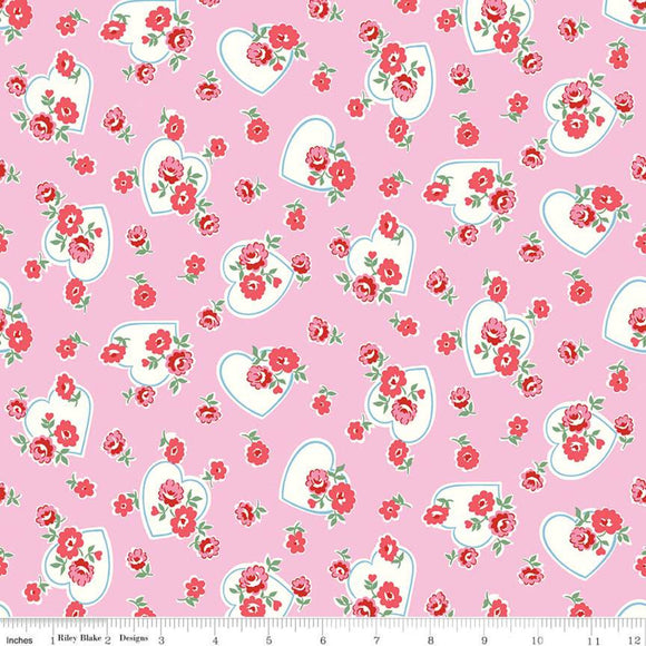 Pink Floral Love Hearts - Love Letters - Riley Blake Cotton Fabric