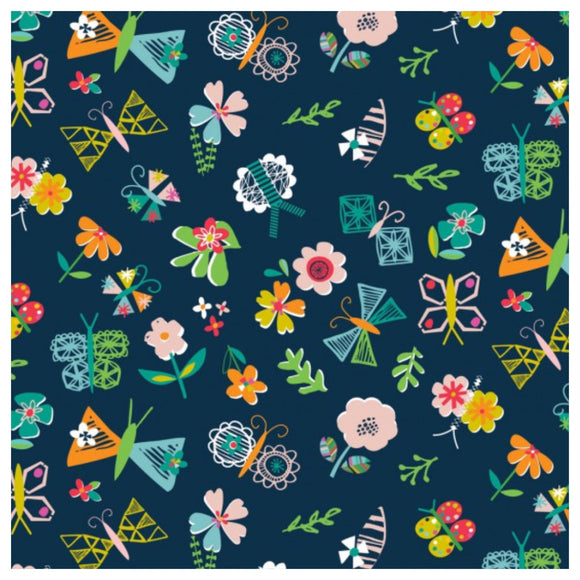 Navy Flowers - Club Tropicana by Dashwood Studios 100% Cotton Fabric - Rosie's Craft Shop Ltd