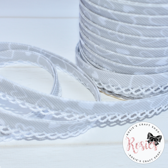 12mm Grey with White Hearts Pre-Folded Bias Binding with Scallop Lace Edge - Rosie's Craft Shop Ltd