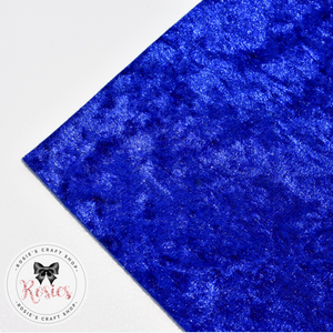 Royal Blue Crushed Velvet Fabric Felt - Rosie's Craft Shop Ltd