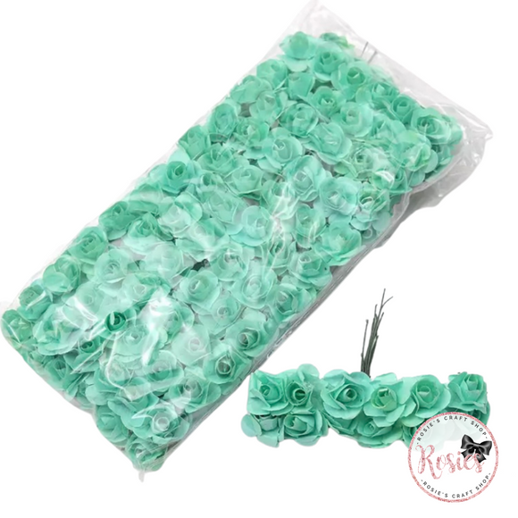 12 x 15mm Mint Green Mulberry Flowers - Paper Roses
