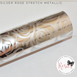 Silver Rose Metallic Stretch Iron On Vinyl HTV - Rosie's Craft Shop Ltd