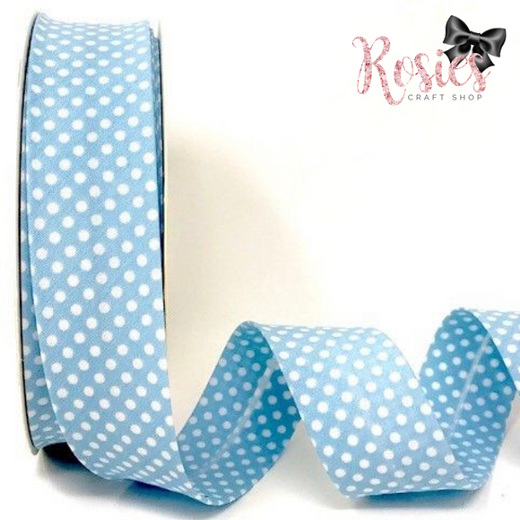 30mm Pale Blue with White Polka Dot Polycotton Bias Binding