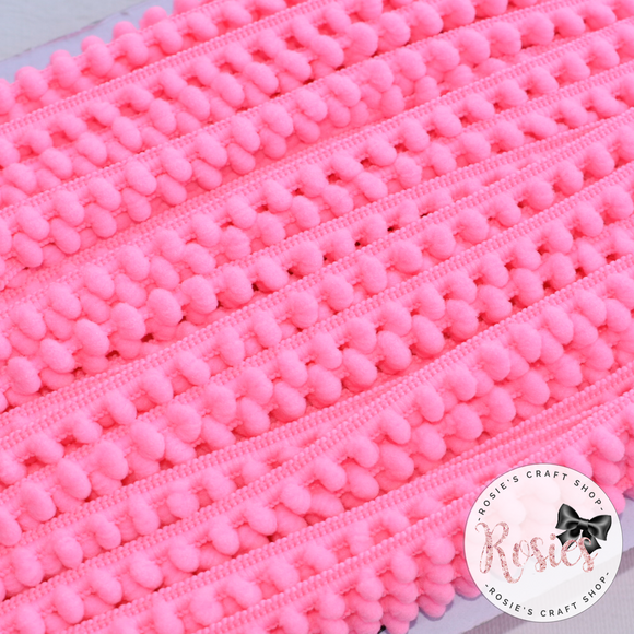 Candy Pink Mini Pom Pom Trim - Rosie's Craft Shop Ltd