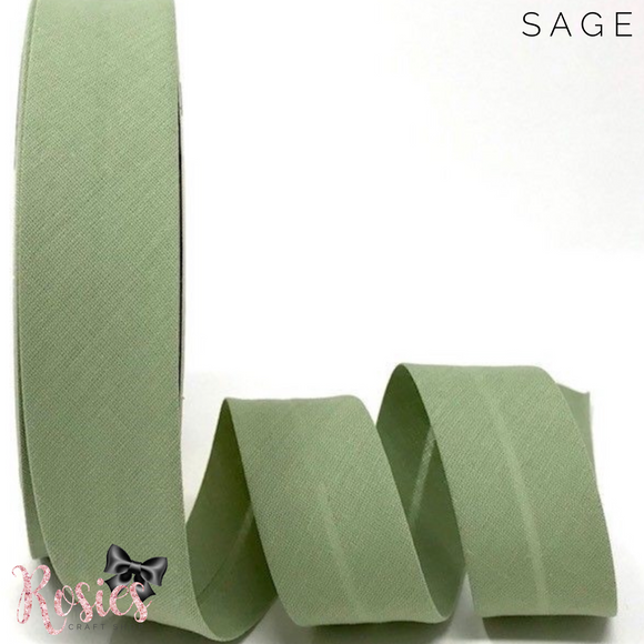 30mm Sage Plain Polycotton Bias Binding - Rosie's Craft Shop Ltd