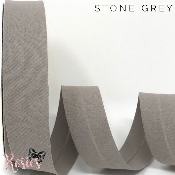 30mm Stone Grey Plain Polycotton Bias Binding - Rosie's Craft Shop Ltd